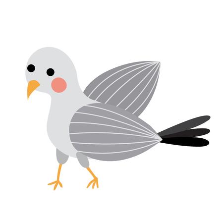 Standing Seagull bird animal cartoon character. Isolated on white background. illustration.
