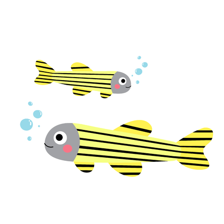 danio rerio: Zebrafish animal cartoon character. Isolated on white background. illustration.