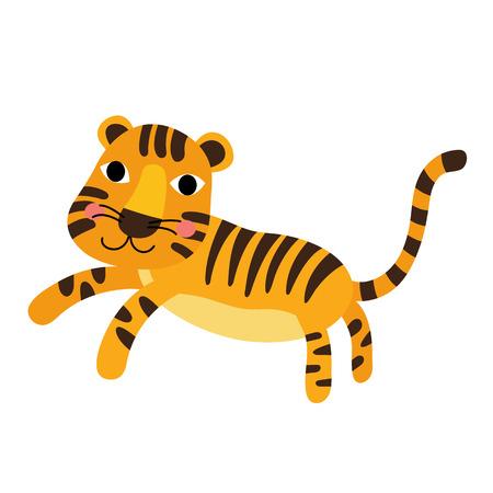 tigresa: Tigre de pie personaje de dibujos animados de los animales. Aislado en el fondo blanco. ilustración.
