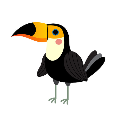 Standing Toucan bird animal cartoon character. Isolated on white background. illustration.