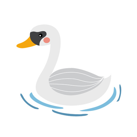 Swan on blue lake water animal cartoon character. Isolated on white background. illustration.