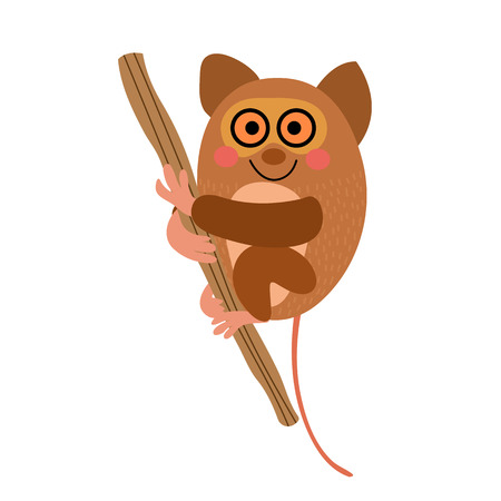 Tarsier hanging on tree animal cartoon character. Isolated on white background. illustration. Vectores