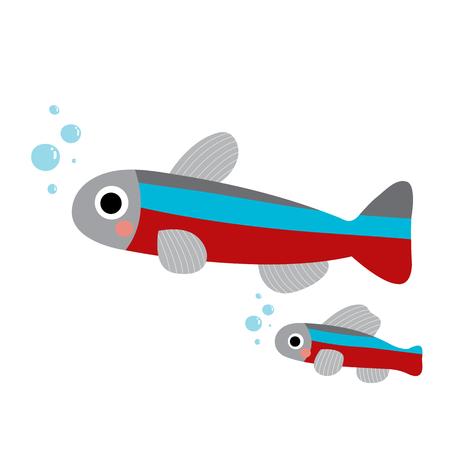 Tetra fish animal cartoon character. Isolated on white background. illustration. Illustration