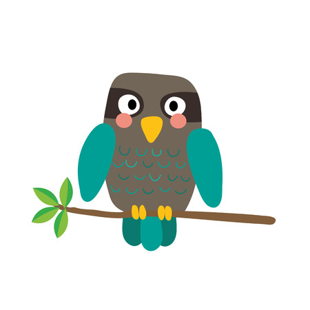 Turquoise Owl bird perched on the branch with leaves animal cartoon character. Isolated on white background. illustration.