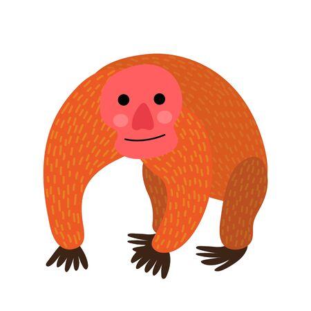 Uakari animal cartoon character. Isolated on white background. illustration. Illustration