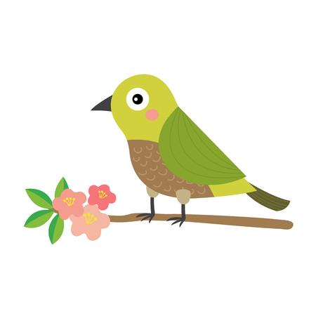 Uguisu bird bird perching branch animal cartoon character. Isolated on white background.  illustration. Illustration