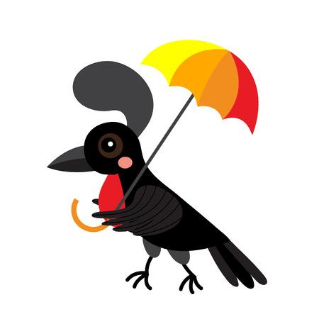 Umbrellabird animal cartoon character. Isolated on white background. illustration.