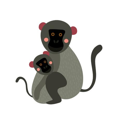 cling: Vervet Monkey mother and child animal cartoon character. Isolated on white background. illustration. Illustration