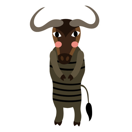 Blue Wildebeest standing on two legs animal cartoon character. Isolated on white background. illustration. Illustration