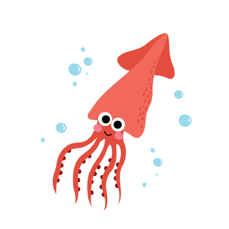 Squid animal cartoon character. Isolated on white background. illustration.