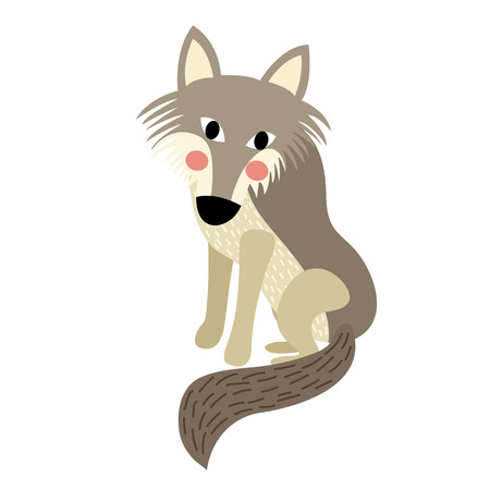 Wolf animal cartoon character. Isolated on white background. illustration.