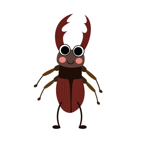 big foot: Standing Stag Beetle animal cartoon character. Isolated on white background. illustration.