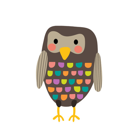 Standing colorful Owl bird animal cartoon character. Isolated on white background. illustration.