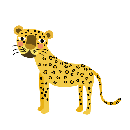 Standing Leopard animal cartoon character. Isolated on white background. illustration. Illustration
