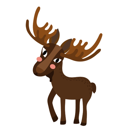 Standing Moose animal cartoon character. Isolated on white background. illustration.