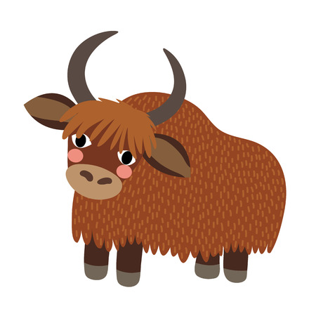 longhaired: Standing Yak animal cartoon character. Isolated on white background. illustration.