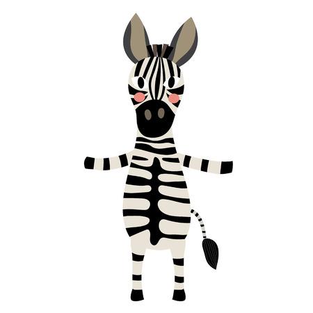 equid: Zebra standing on two legs animal cartoon character. Isolated on white background. illustration. Illustration