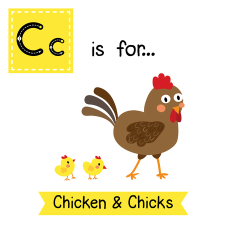 C letter tracing. Chicken & Chicks. Cute children zoo alphabet flash card. Funny cartoon animal. Kids abc education. Learning English vocabulary. illustration.