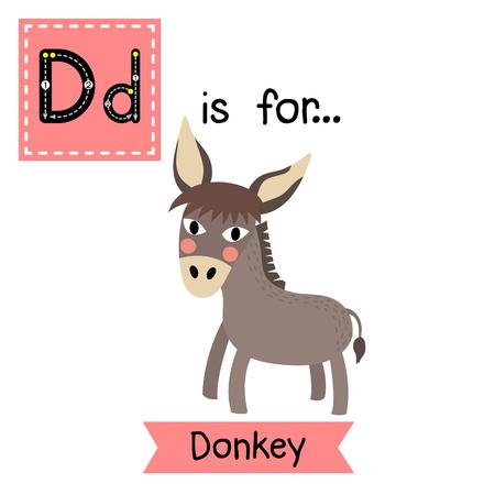 D letter tracing. Flying Dove bird. Cute children zoo alphabet flash card. Funny cartoon animal. Kids abc education. Learning English vocabulary. illustration. Ilustracja