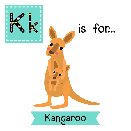 cute children: K letter tracing. Kangaroo and baby kangaroo. Cute children zoo alphabet flash card. Funny cartoon animal. Kids abc education. Learning English vocabulary. illustration.