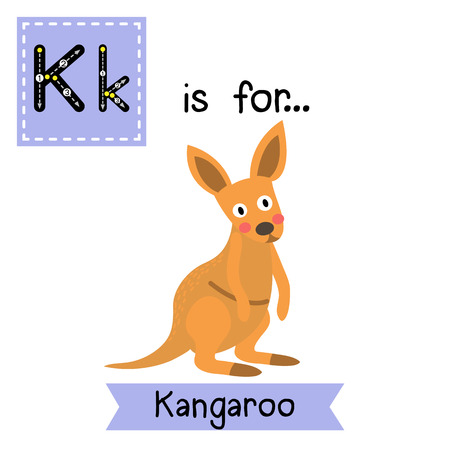 vocabulary: K letter tracing. Kangaroo. Cute children zoo alphabet flash card. Funny cartoon animal. Kids abc education. Learning English vocabulary. illustration.