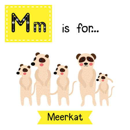 M letter tracing. Standing Meerkat family group. Cute children zoo alphabet flash card. Funny cartoon animal. Kids abc education. Learning English vocabulary. illustration.
