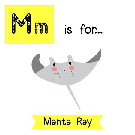 ray tracing: M letter tracing. Manta ray. Cute children zoo alphabet flash card. Funny cartoon animal. Kids abc education. Learning English vocabulary. illustration.
