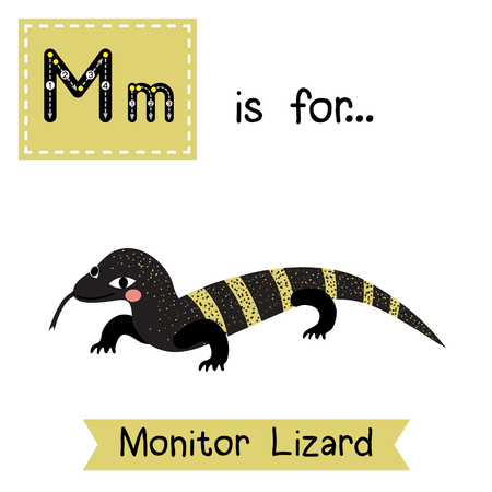 cute children: M letter tracing. Monitor lizard. Cute children zoo alphabet flash card. Funny cartoon animal. Kids abc education. Learning English vocabulary. illustration. Illustration