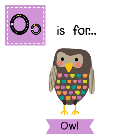 cute children: O letter tracing. Standing colorful Owl bird. Cute children zoo alphabet flash card. Funny cartoon animal. Kids abc education. Learning English vocabulary. illustration. Illustration
