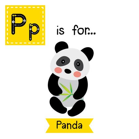 P Carta De Rastreo. El Oso De Panda Con Hojas De Bambú. Tarjeta De ...