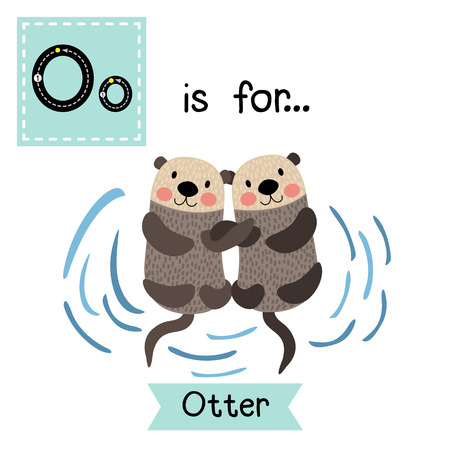mink: O letter tracing. Otter couple holding hands. Cute children zoo alphabet flash card. Funny cartoon animal. Kids abc education. Learning English vocabulary. illustration.