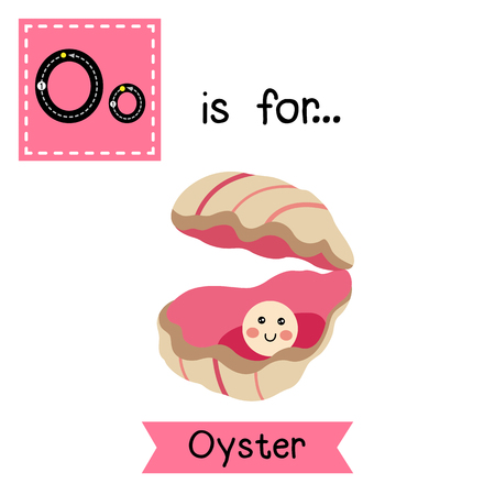 cute children: O letter tracing. Oyster with a pearl. Cute children zoo alphabet flash card. Funny cartoon animal. Kids abc education. Learning English vocabulary. illustration.