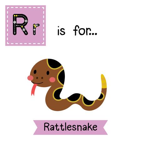 R letter tracing. Crawling Rattlesnake. Cute children zoo alphabet flash card. Funny cartoon animal. Kids abc education. Learning English vocabulary. illustration.