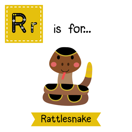 R letter tracing. Curled up Rattlesnake. Cute children zoo alphabet flash card. Funny cartoon animal. Kids abc education. Learning English vocabulary. illustration. Illustration