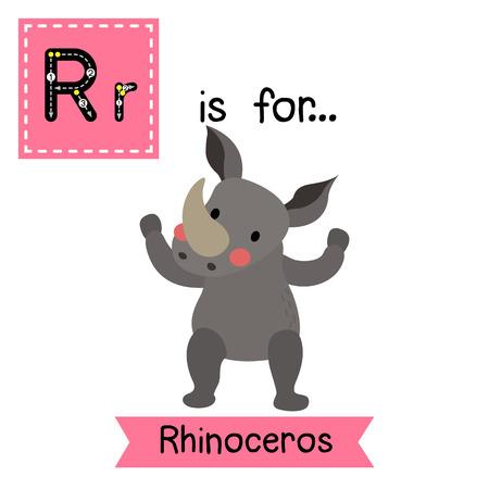 R Carta De Rastreo. De Pie Rinoceronte. Tarjeta De Destello Del ...