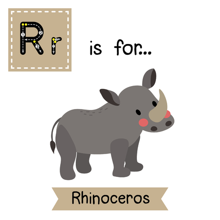 cute children: R letter tracing. Standing Rhinoceros. Cute children zoo alphabet flash card. Funny cartoon animal. Kids abc education. Learning English vocabulary. illustration.