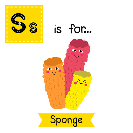 S letter tracing. Colorful Sponge. Cute children zoo alphabet flash card. Funny cartoon animal. Kids abc education. Learning English vocabulary. illustration.