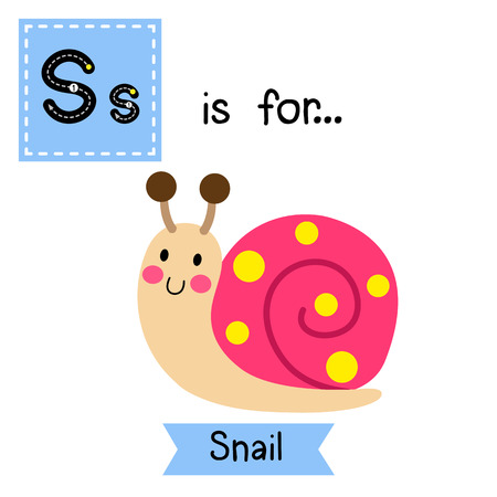 cute children: S letter tracing. Colorful Snail. Cute children zoo alphabet flash card. Funny cartoon animal. Kids abc education. Learning English vocabulary. illustration.