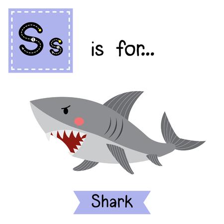 S letter tracing. Shark. Cute children zoo alphabet flash card. Funny cartoon animal. Kids abc education. Learning English vocabulary. illustration.