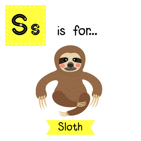 sloth: S letter tracing. Three-toed sitting Sloth. Cute children zoo alphabet flash card. Funny cartoon animal. Kids abc education. Learning English vocabulary. illustration.