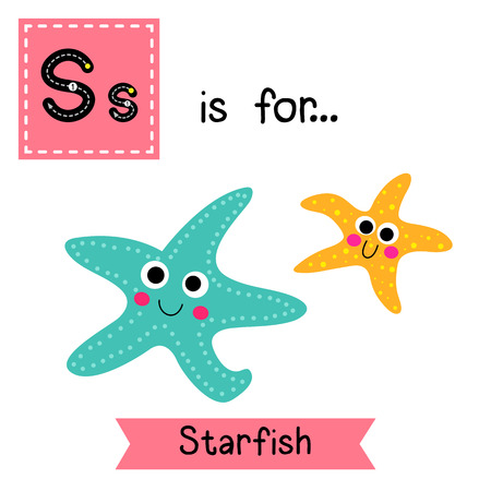 cute children: S letter tracing. Smiling Starfish. Cute children zoo alphabet flash card. Funny cartoon animal. Kids abc education. Learning English vocabulary. illustration.