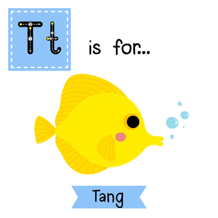 cute children: T letter tracing. Yellow Tang fish. Cute children zoo alphabet flash card. Funny cartoon animal. Kids abc education. Learning English vocabulary. illustration.