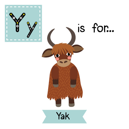 funny ox: Y letter tracing. Yak standing on two legs. Cute children zoo alphabet flash card. Funny cartoon animal. Kids abc education. Learning English vocabulary. illustration.