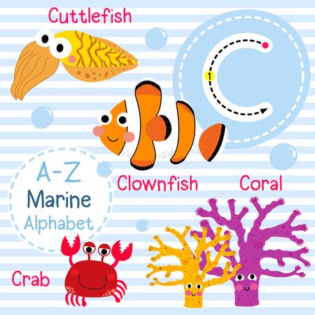 children crab: C letter tracing. Crab. Coral. Clownfish. Cuttlefish. Cute children sea marine alphabet flash card. Funny cartoon animal. Kids abc education. Learning English vocabulary. illustration. Illustration