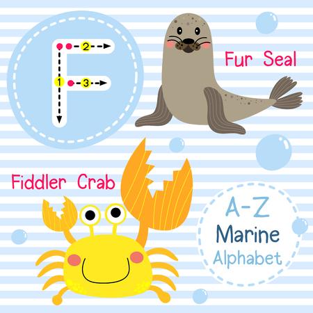 children crab: F letter tracing. Fiddler Crab. Fur Seal. Cute children sea marine alphabet flash card. Funny cartoon animal. Kids abc education. Learning English vocabulary. illustration. Illustration