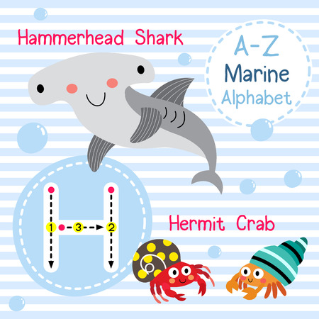 children crab: H letter tracing. Hermit Crab. Hammerhead Shark. Cute children sea marine alphabet flash card. Funny cartoon animal. Kids abc education. Learning English vocabulary. illustration.