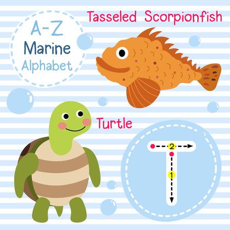 scorpionfish: T letter tracing. Turtle. Tasseled Scorpionfish. Cute children sea marine alphabet flash card. Funny cartoon animal. Kids abc education. Learning English vocabulary. illustration. Illustration
