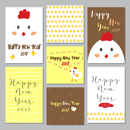chick: Happy New Year 2017 theme. Year of Rooster. Happy cute chick chicken egg cartoon character design. Seasons greetings. Illustration.