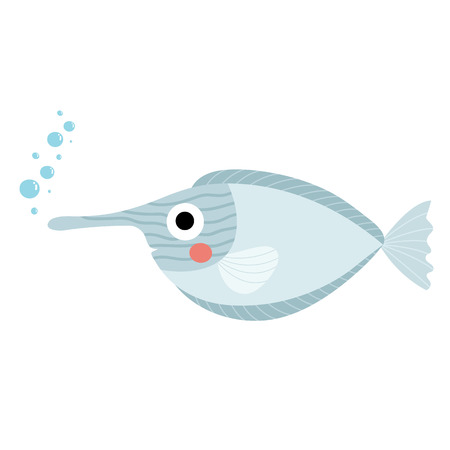 Unicorn Fish animal cartoon character. Isolated on white background. illustration.