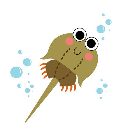 Horseshoe Crab (Xiphosura) animal cartoon character. Isolated on white background. illustration.